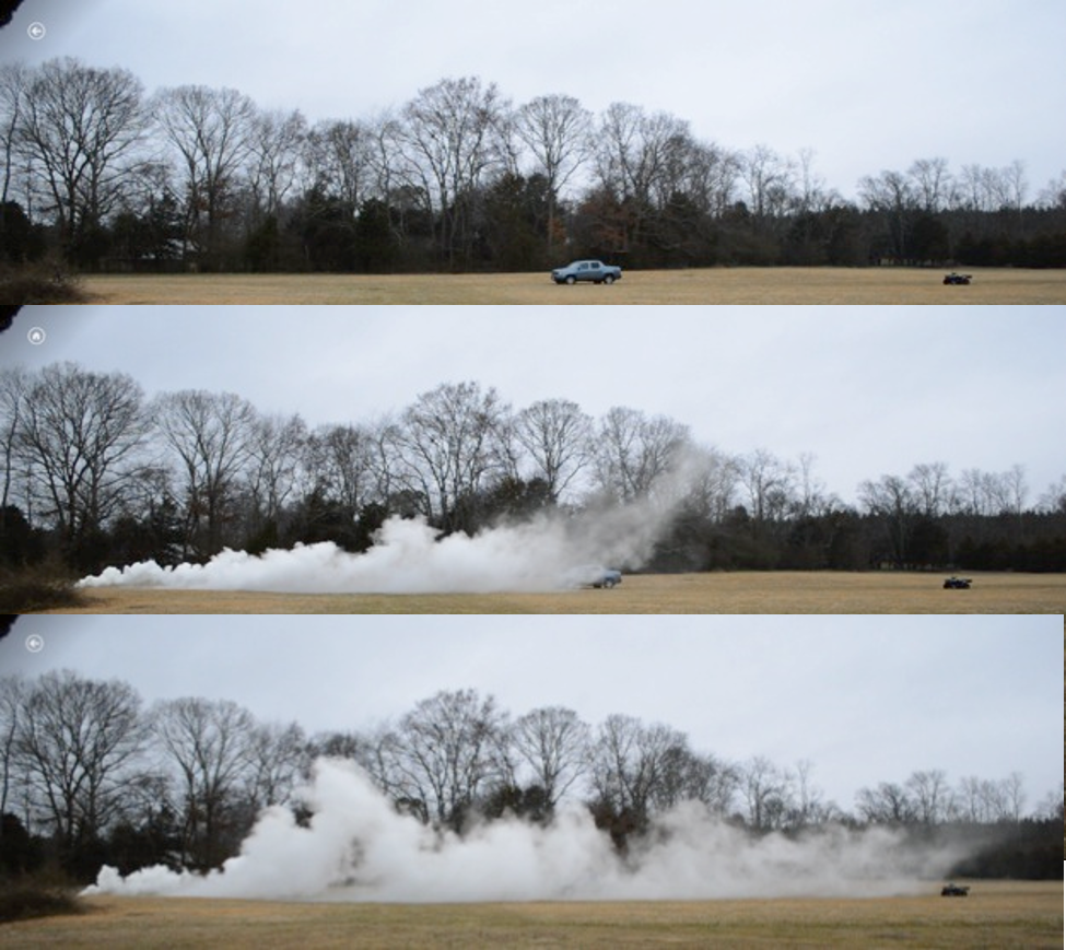 3KG of Coolsmoke Material is initiated in an open pan with an electronic fuse